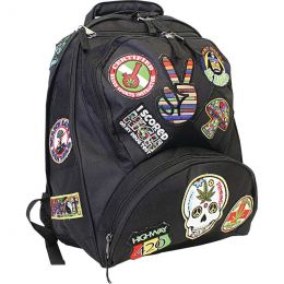 "Be A Rebel 17"" Hippie Backpack with 15 Patches"