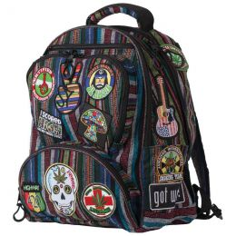 "Highway 420 17"" HIPPIE POLYESTER BACKPACK WITH EMBROIDERED PATCHES"